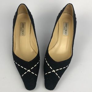 Jimmy Choo heels wool black and white Size 7.5